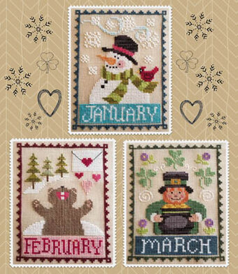 Monthly Trios January February March - Cross Stitch Pattern