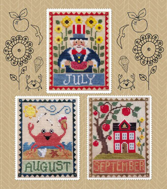 Monthly Trios - July, August, September - Cross Stitch Patte