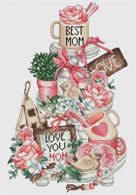 Mother's Day on a Platter - Cross Stitch Pattern