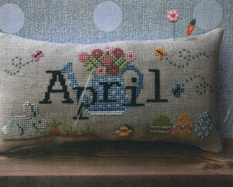 When I Think of April (with button) - Cross Stitch Pattern