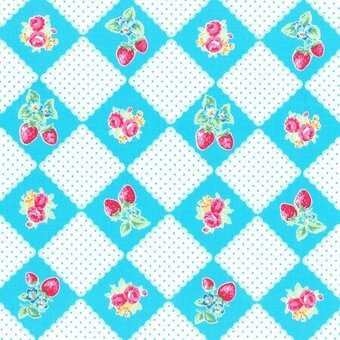 Light Blue Floral and Strawberry Diamonds Cotton Half Yard