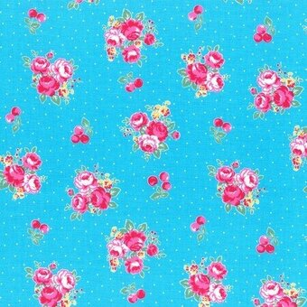 Light Blue Floral and Dots Cotton Fabric Fat Quarter