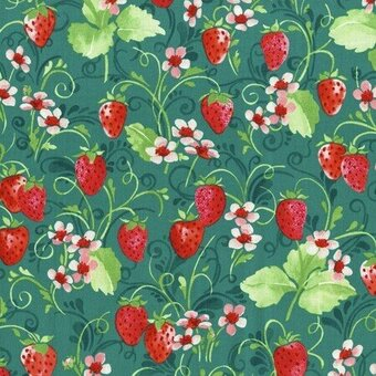 Teal Strawberry Floral With Metallic Fabric Yardage