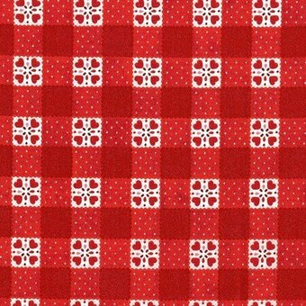 Red Check Cotton Fabric Half Yard