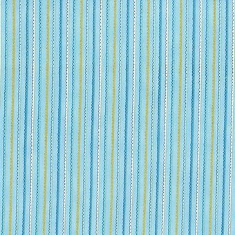 Blue Stripe With Metallic 100% Cotton Fabric Yardage