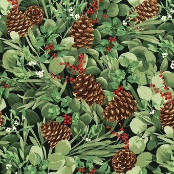 Green Pinecone With Metallic Christmas Fabric Yardage