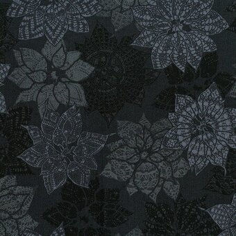 Charcoal Poinsettia Christmas Fabric Half Yard