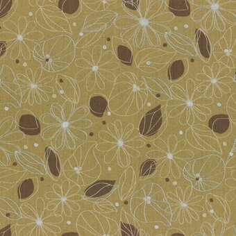 Yellow Flowers Leaves Cotton Linen Mixed Canvas Yardage