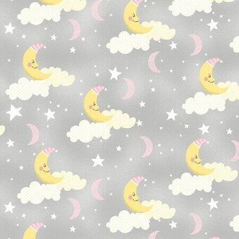 Grey Sleepy Moons 100% Cotton Fabric Half Yard