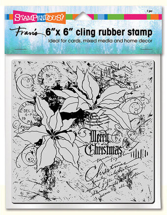 Poinsettia Collage - Christmas Cling Rubber Stamp