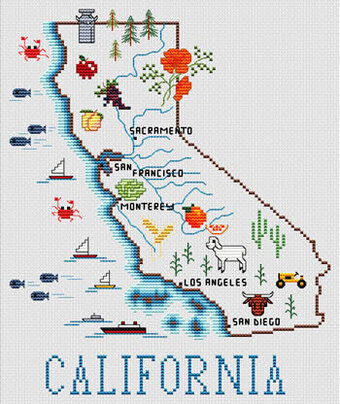 California Map - Cross Stitch Pattern