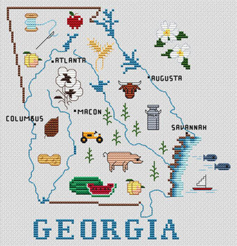 Georgia Map - Cross Stitch Pattern