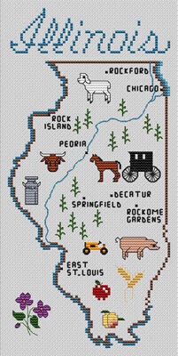 Illinois Map - Cross Stitch Pattern