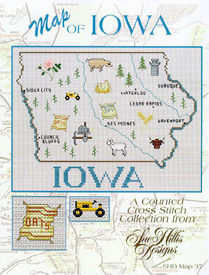 Iowa Map - Cross Stitch Pattern