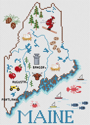 Maine Map - Cross Stitch Pattern