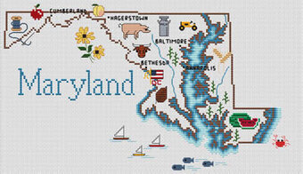 Maryland Map - Cross Stitch Pattern