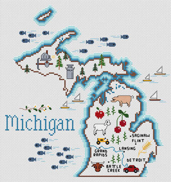 Michigan Map - Cross Stitch Pattern