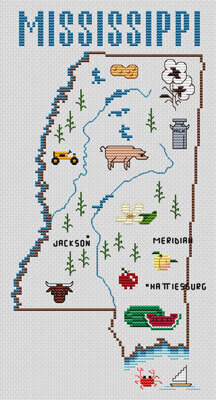 Mississippi Map - Cross Stitch Pattern