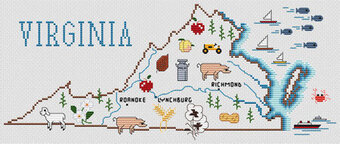 Virginia Map - Cross Stitch Pattern