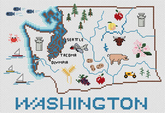 Washington Map - Cross Stitch Pattern