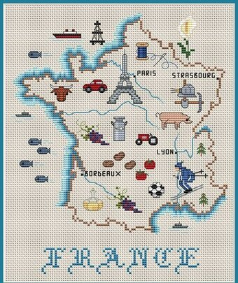 France Map - Cross Stitch Pattern