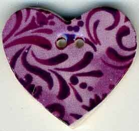 Jim Shore Plum Hearts Desire Button