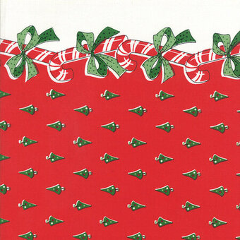 "Candy Canes Red 16"" x 36"" Christmas Toweling Fabric"