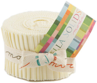 Moda Bella Solids Junior Jelly Roll - Snow