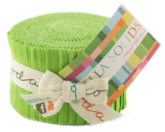 Moda Bella Solids Junior Jelly Roll - Lime Green