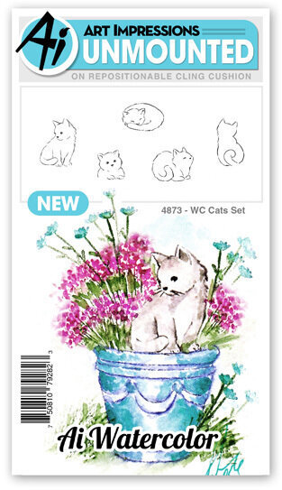 Watercolor Cats - Unmounted Rubber Stamp