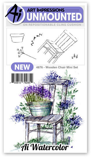 Watercolor Wooden Chair Mini Set - Unmounted Rubber Stamp