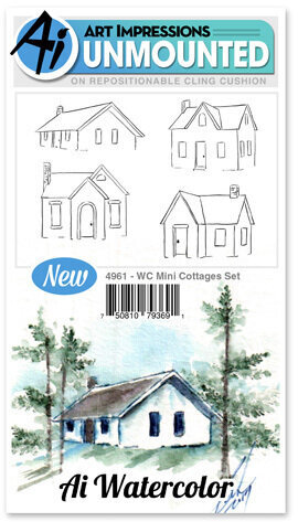 Watercolor Mini Cottages - Cling Stamp Set
