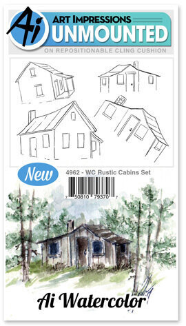 Watercolor Rustic Cabins - Cling Stamp Set