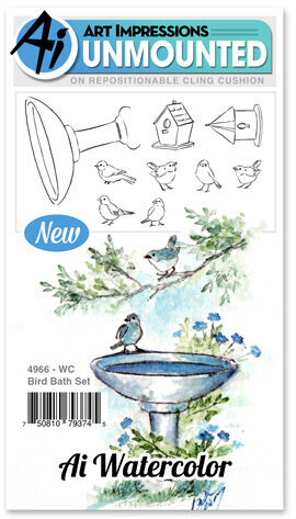 Watercolor Bird Bath - Cling Stamp Set