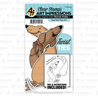 Dog Twist Ties - Clear Stamps and Dies