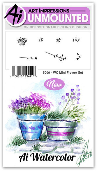 Watercolor Mini Flower Set - Cling Stamp