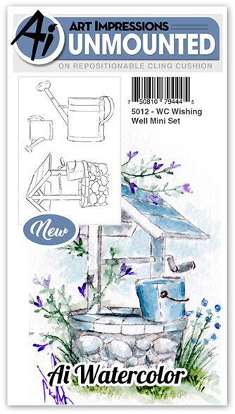 Watercolor Wishing Well Mini Set - Cling Stamp