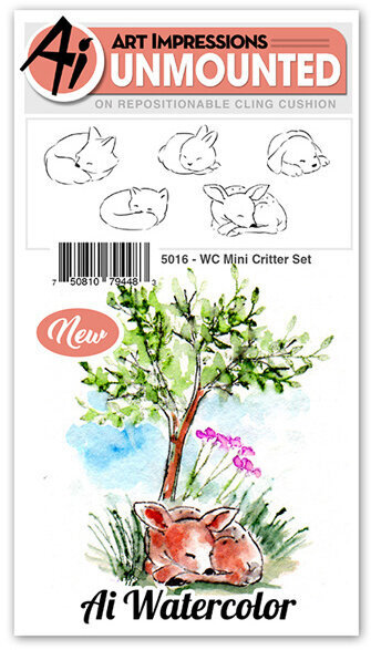 Watercolor Mini Critter Set - Cling Stamp