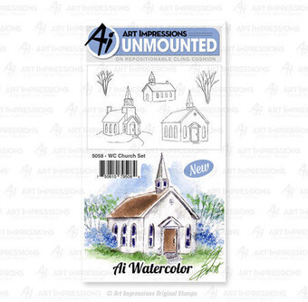 Watercolor Church Set - Unmounted Rubber Stamp