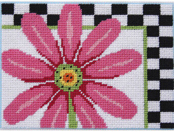 Pink Daisy & Checks - Needlepoint Kit