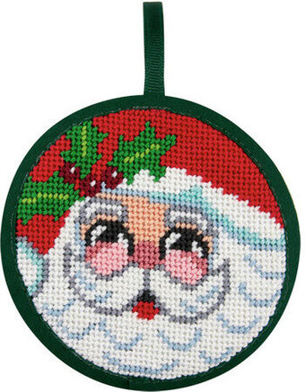 Santa Face Christmas Ornament - Needlepoint Kit