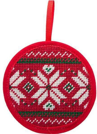 Fair Isle Red Christmas Ornament - Needlepoint Kit