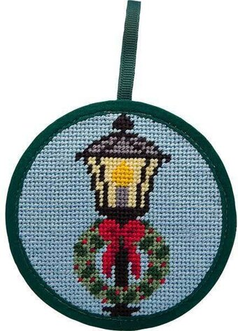 Lamp Post and Wreath Christmas Ornament - Needlepoint Kit