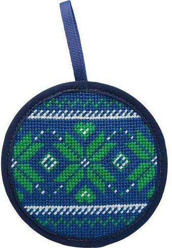 Fair Isle Blue Christmas Ornament - Needlepoint Kit