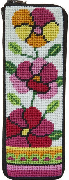 Spec Case - Pink and Orange Poppies - Needlepoint Kit