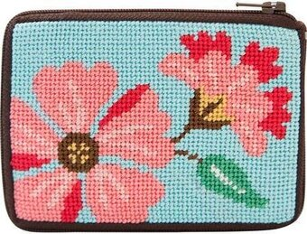 Coin Purse - Pink Flowers - Needlepoint Kit