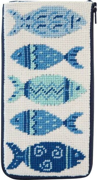 Eyeglass Case - Blue Fishes - Needlepoint Kit