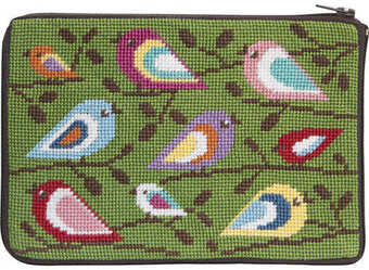 Cosmetic Purse - Birds Of Color - Needlepoint Kit