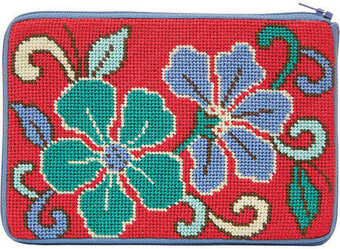 Cosmetic Purse - Red Asian Floral - Needlepoint Kit
