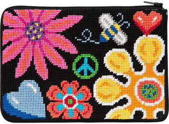 Cosmetic Purse - Fun Floral - Needlepoint Kit
